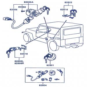 mitsubishi jeep j53 j55 series complete lock key set. Black Bedroom Furniture Sets. Home Design Ideas