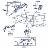 Mitsubishi Jeep J53, J55 Series Complete Lock & Key Set
