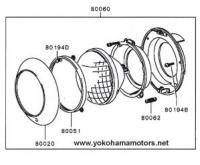 Mitsubishi Jeep: J55, J53 Front Lighting: Headlamp Chrome Ring