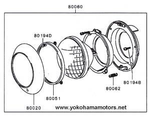 suzuki k6a wiring diagram suzuki rv90 wiring diagram mitsubishi jeep j55 j53 front lighting headlamp kit 24v #8